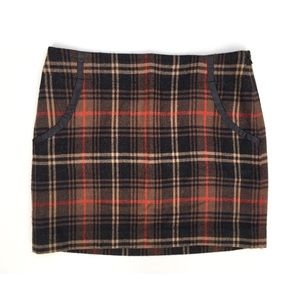 The Limited Brown Red Plaid Semi Mini Skirt Size 8
